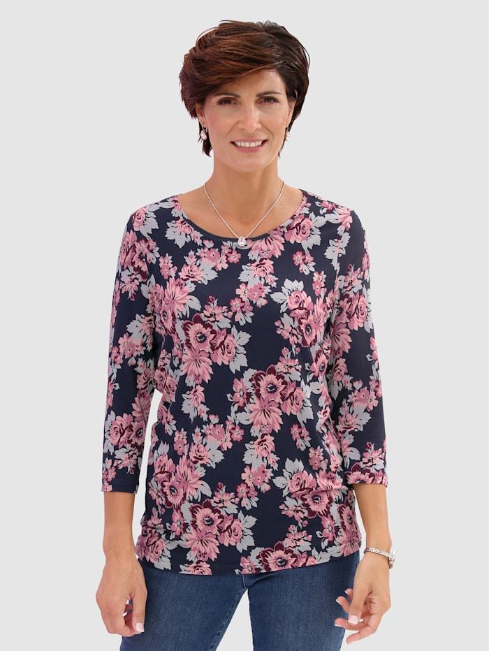 Paola Shirt mit exklusivem Druckdessin, Marineblau/Brombeere