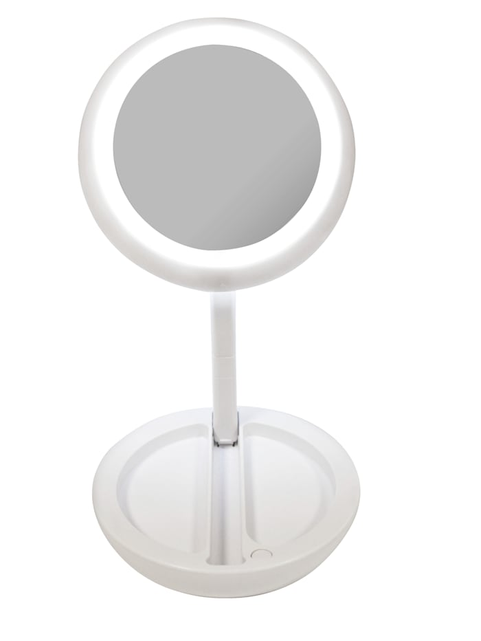 Led-spiegel in opvouwbaar design, wit