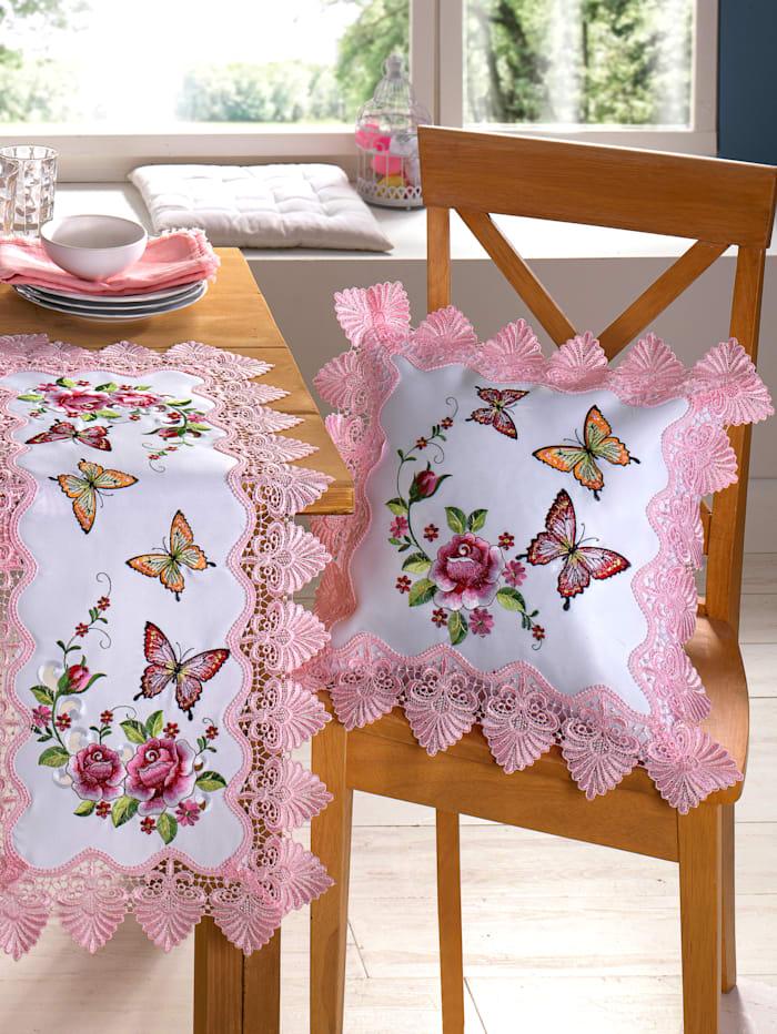 """Webschatz Housse de coussin """"Cara"""", Blanc/Rose/Multicolore"""