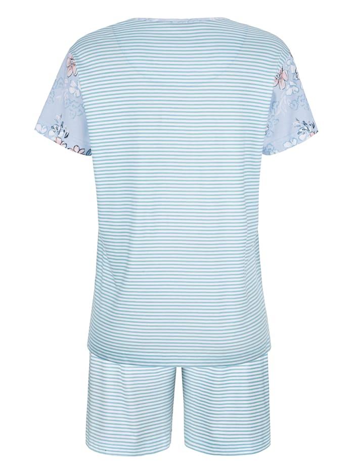 Pyjamas med blommotiv på ärmarna