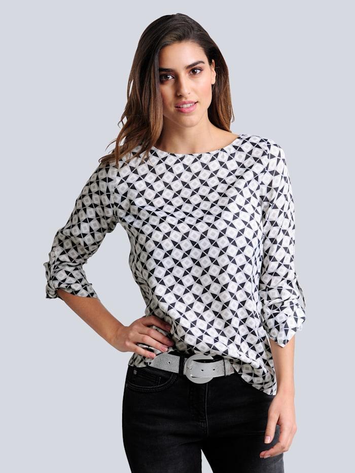 Alba Moda Bluse im exklusiven Dessin nur bei Alba Moda erhältlich, Grau/Off-white