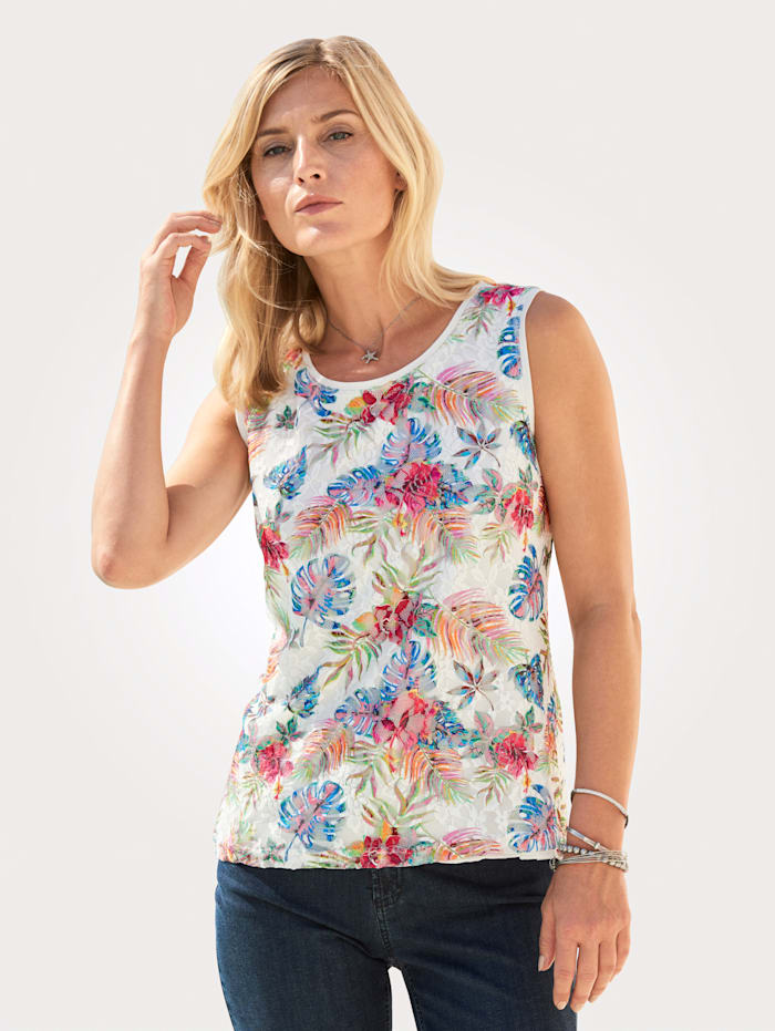 ERFO Top made from mesh lace, Multi/Ecru