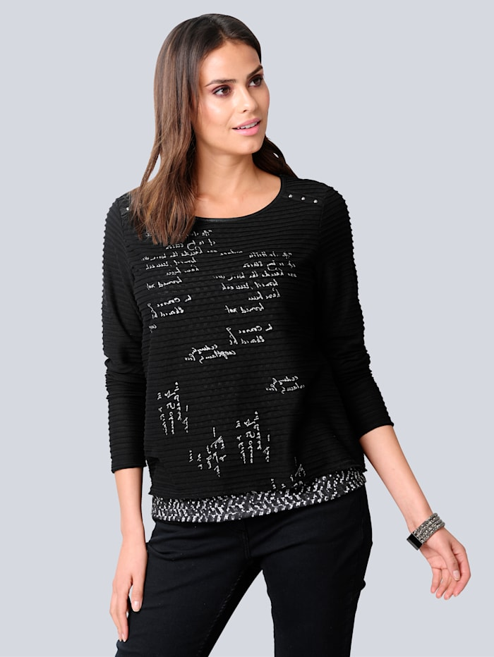 Alba Moda Shirt im Vorderteil mit effektvollen Schriftzügen, Schwarz/Weiß