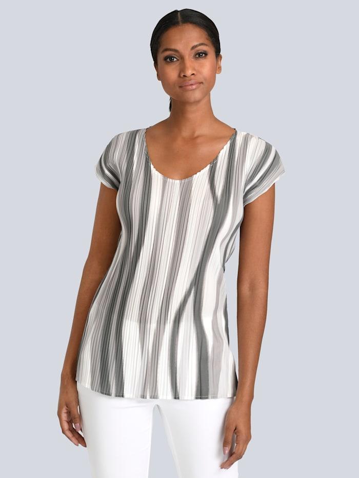 Alba Moda Bluse aus plissierter Ware, Grau/Weiß