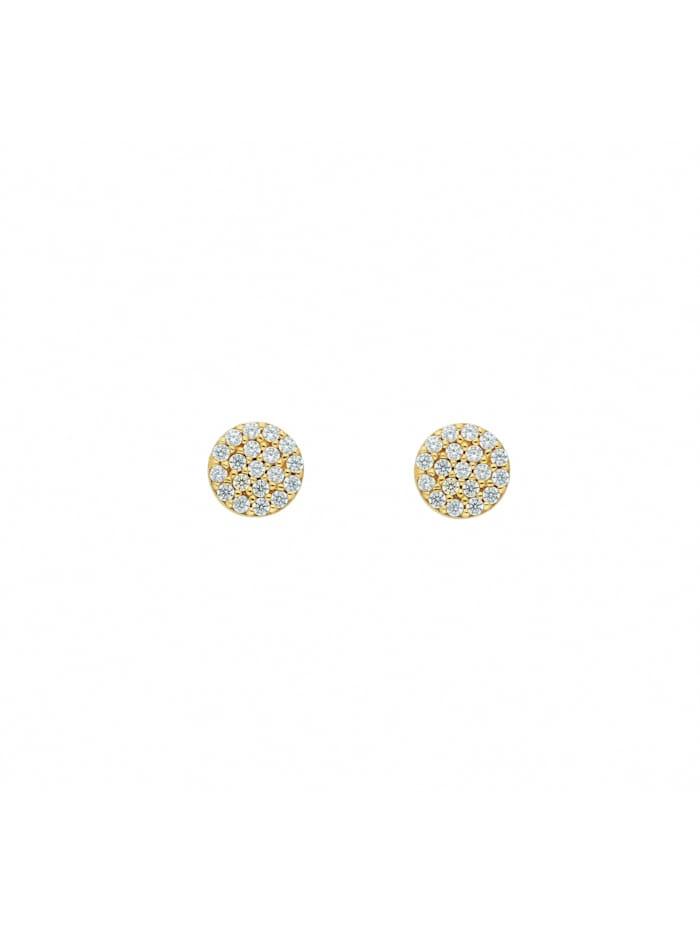 1001 Diamonds Damen Goldschmuck 333 Gold Ohrringe / Ohrstecker mit Zirkonia Ø 6 mm, gold