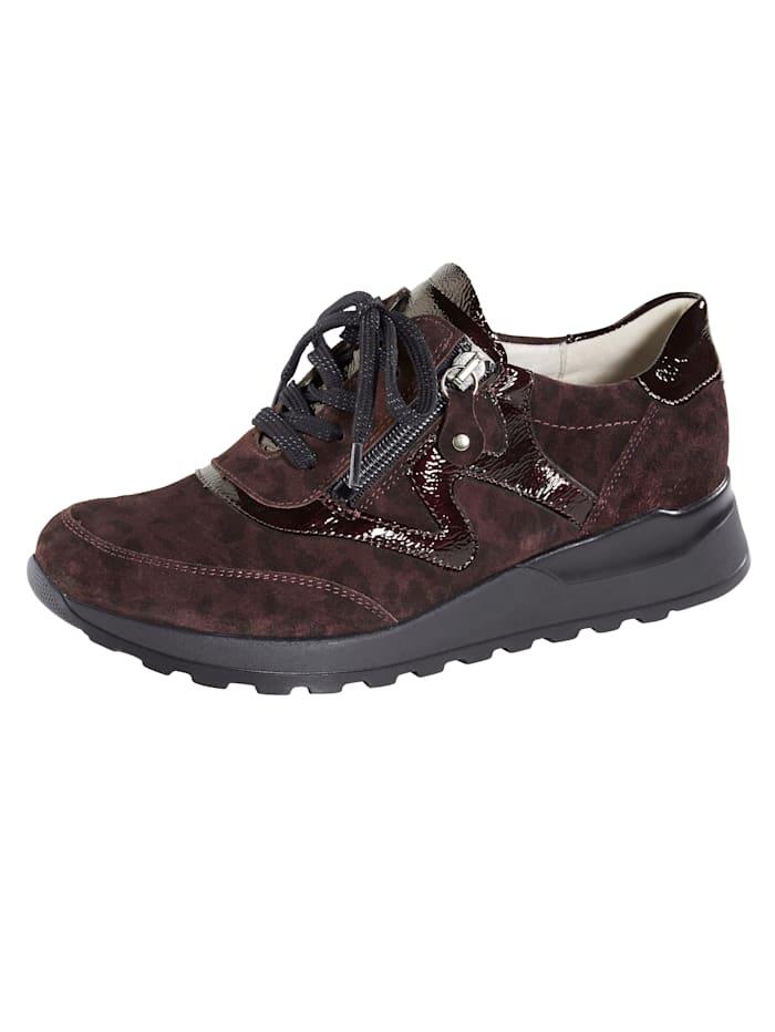 Waldläufer Sneakers avec glissière côté, Bordeaux