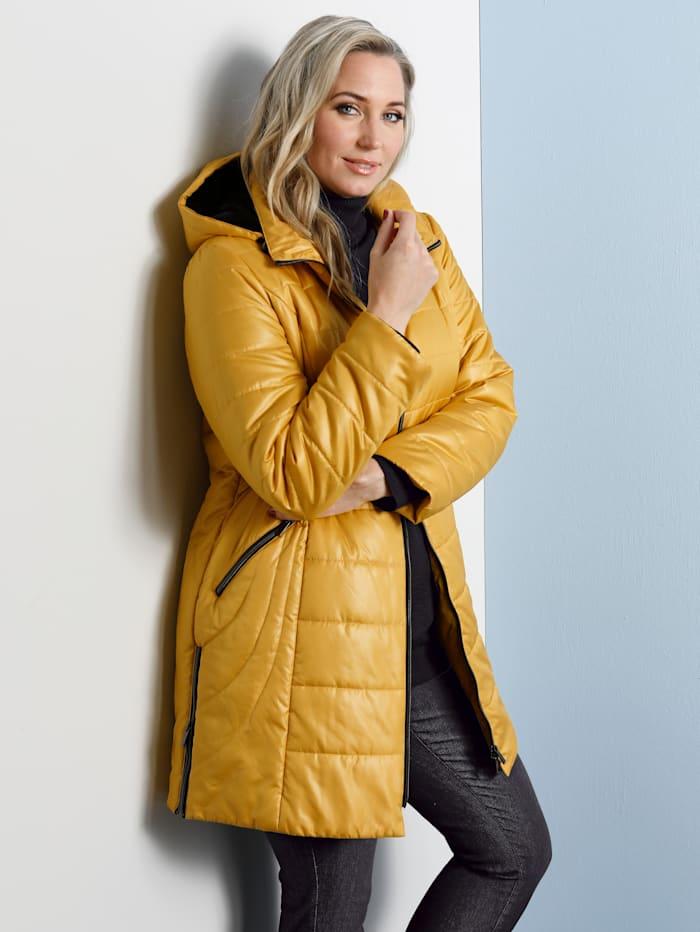MIAMODA Prošívaný kabát s měkkou kontrastní teddy kožešinkou v kapuci, Žlutá/Černá