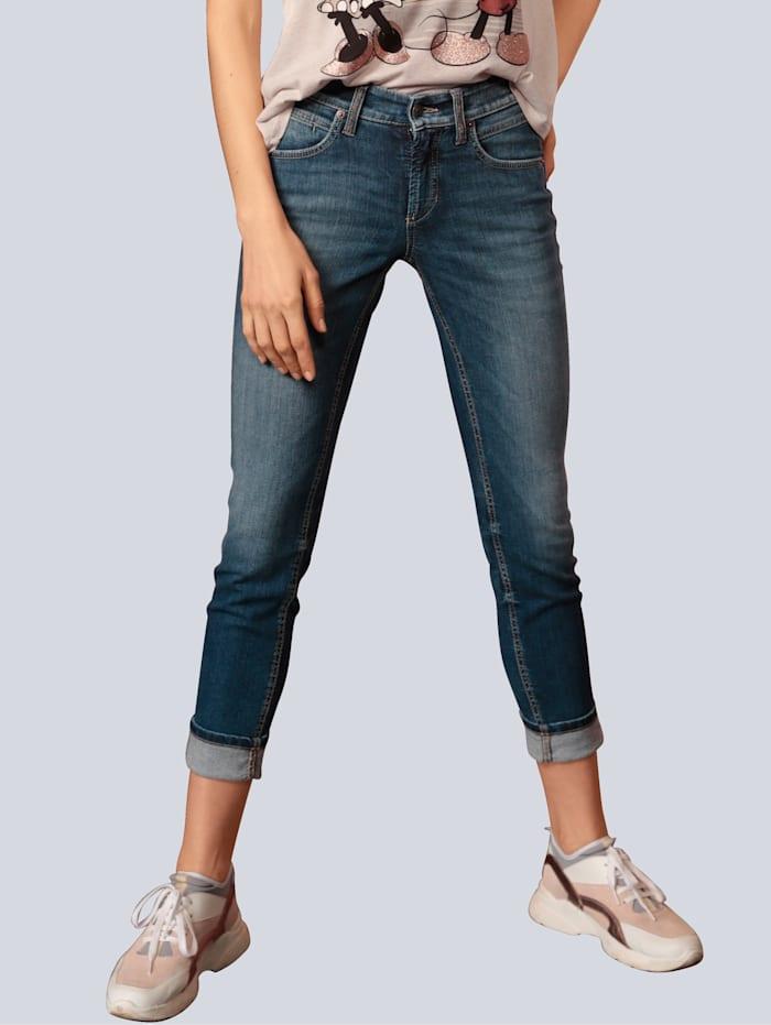 CAMBIO Jeans mit Zierbändern, Blue stone