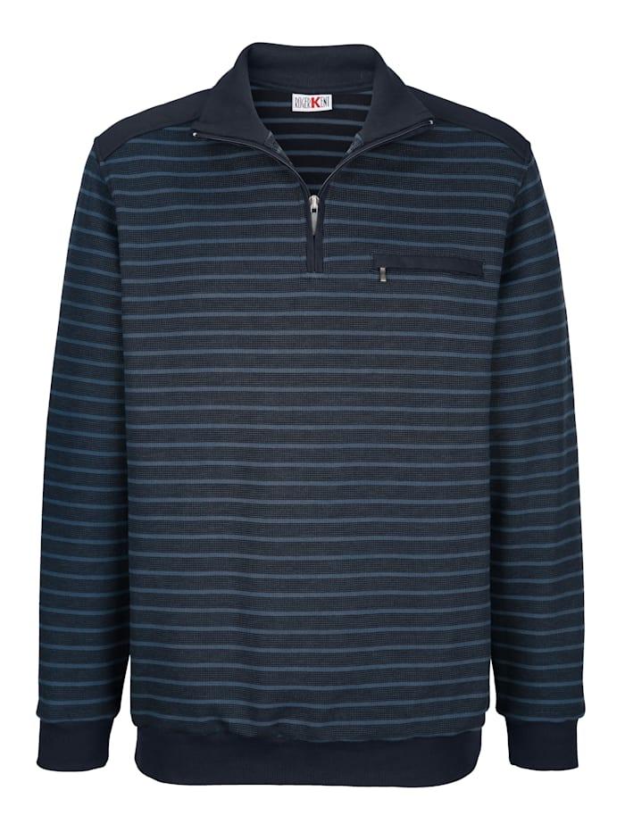 Roger Kent Sweatshirt mit Streifenmuster, Petrol