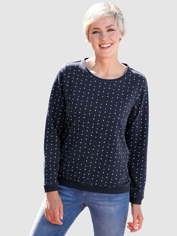 Dress In Sweatshirt met ankerprint, Marine