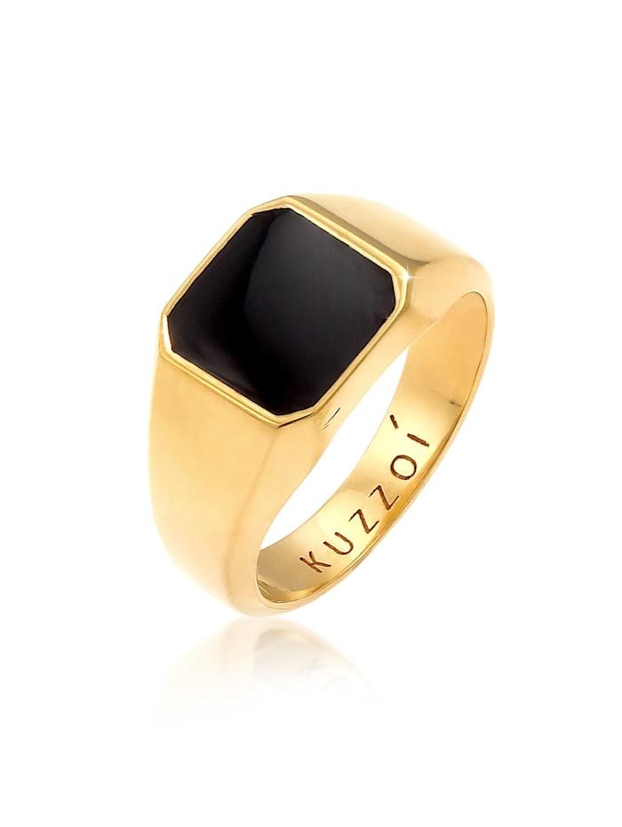 Kuzzoi Ring Herren Siegelring Emaille Schwarz Basic 925 Silber, Gold