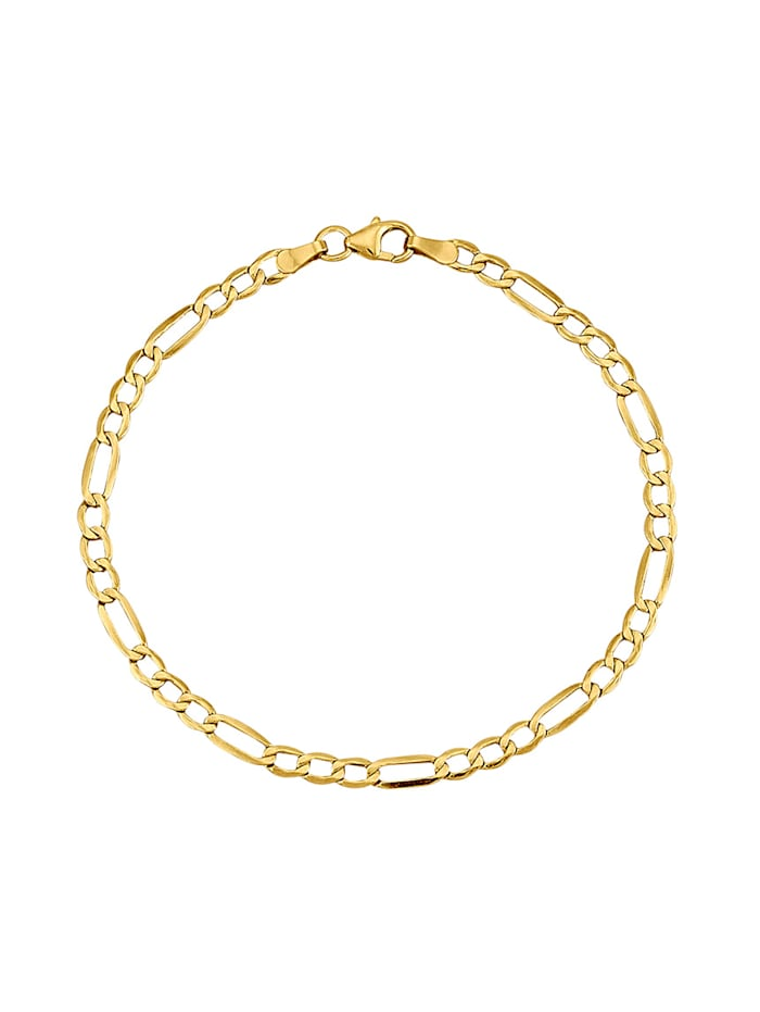 Bracelet maille Figaro fini poli, Coloris or jaune