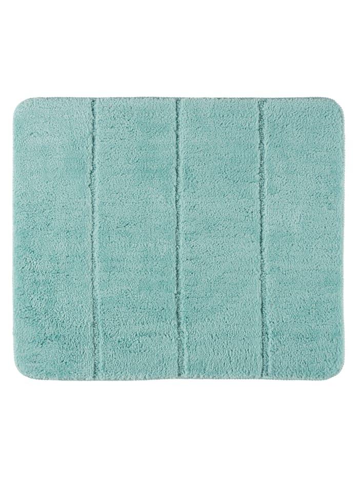 Wenko Badteppich Steps Turquoise, 55 x 65 cm, 55 x 65 cm, Mikrofaser, Polyester/Mikrofaser: Türkis