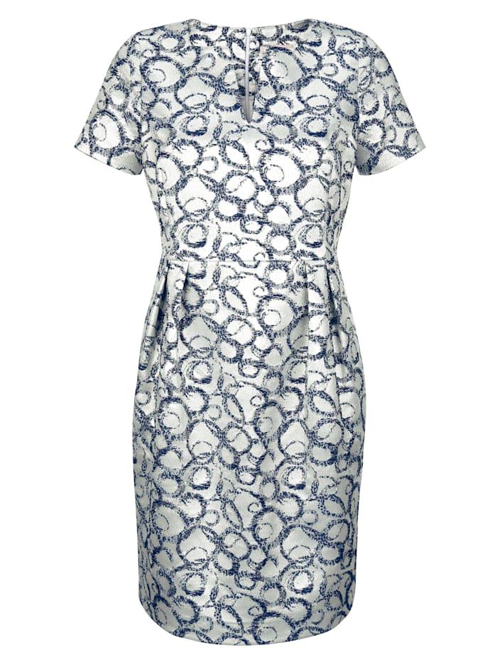 Alba Moda Kleid aus edler Jacquard-Ware, Silberfarben/Blau