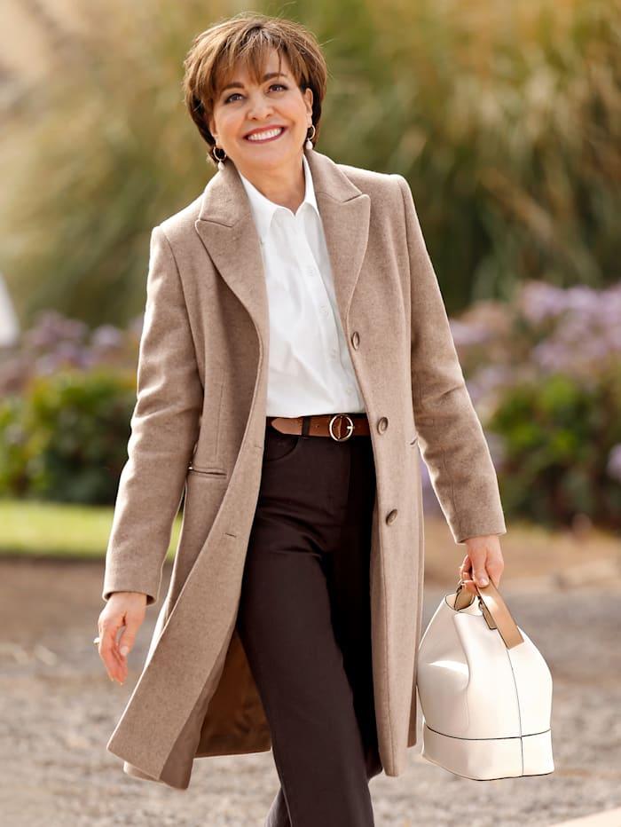 Paola Manteau en laine en coton recyclé, Taupe