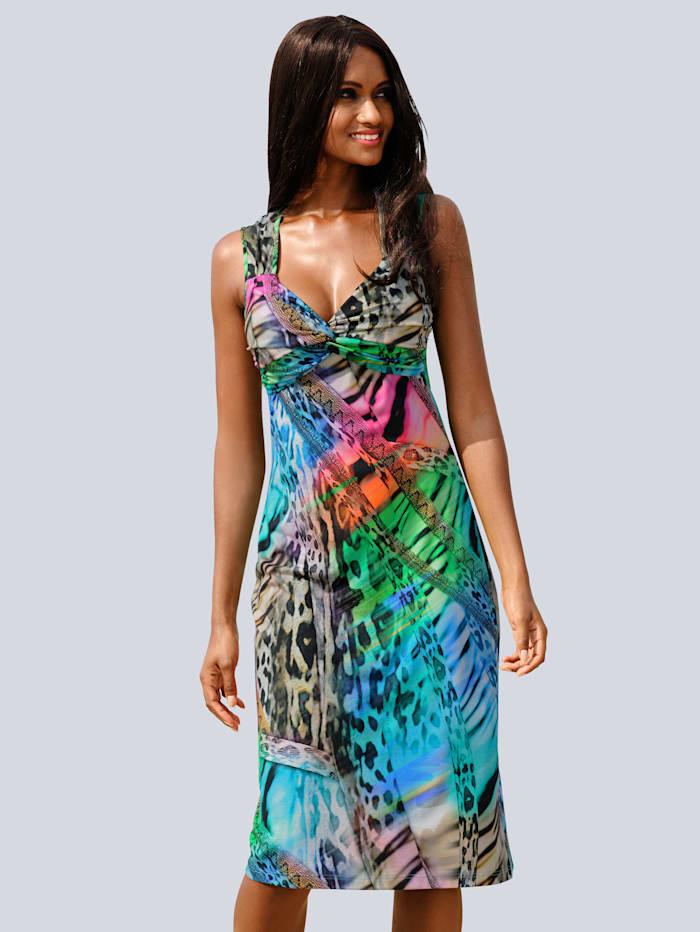 Alba Moda Strandkleid in bunten Regenbogenfarben, türkis