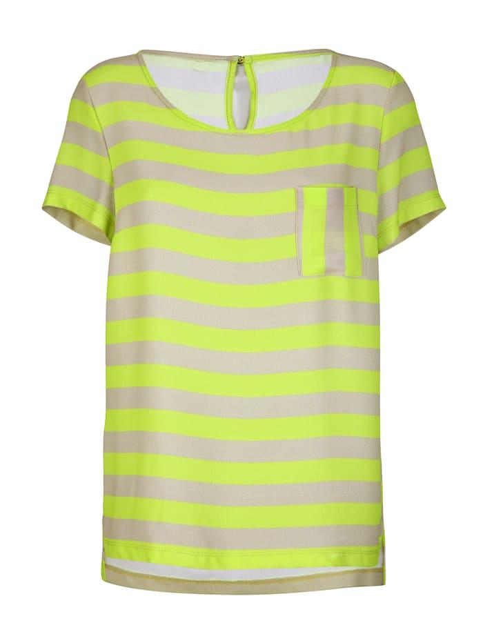 AMY VERMONT Shirt allover gestreift, Beige/Neongelb
