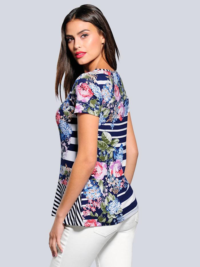 Shirt im schönen Blumen- und Streifendessin