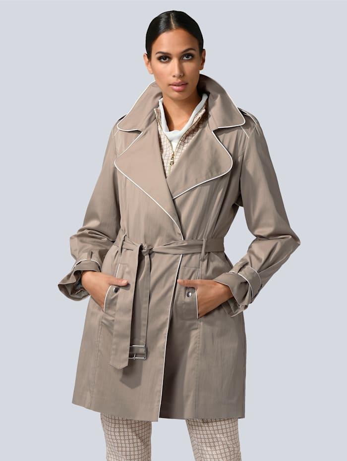 Alba Moda Trenchcoat mit kontrastfarbenem Piping und Bindegürtel, Beige/Off-white