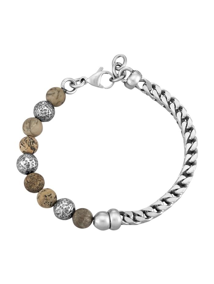 Gevlochten armband van rvs, Zilverkleur
