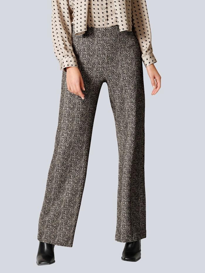Alba Moda Hose in modisch ausgestellter Form, Schwarz/Beige