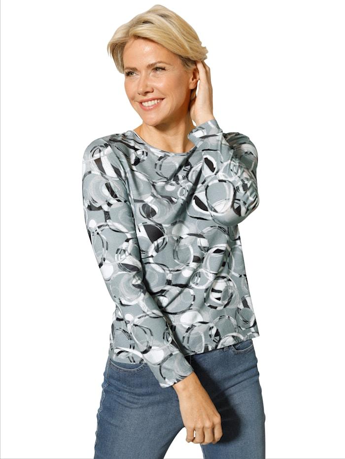 Barbara Lebek Shirt mit Allover-Druck, Mintgrün/Grau