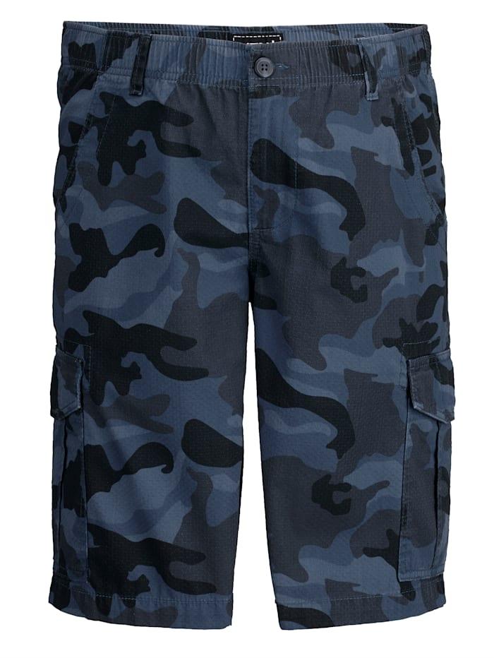 Men Plus Shorts med kamouflagemönster, Blå