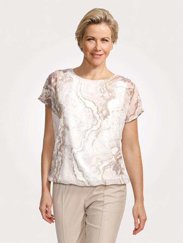 MONA Blouse met trendy marmerprint, Kit/Ecru/Taupe