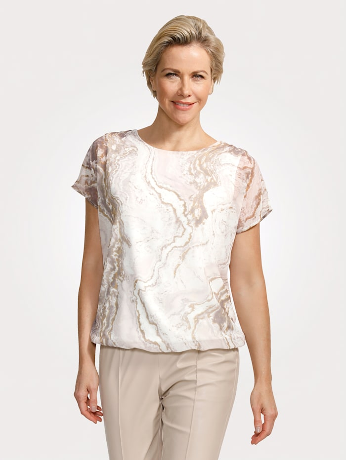 MONA Pull-on blouse with a marble-effect print, Cream/Ecru/Taupe