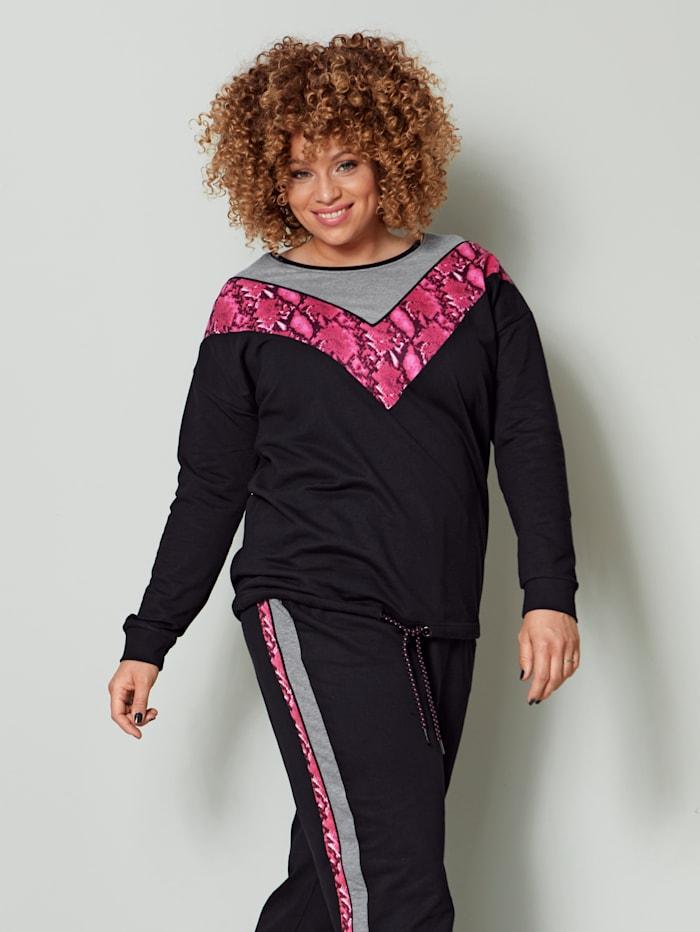 Angel of Style Sweatshirt mit Schlangendruck, Grau/Pink/Schwarz