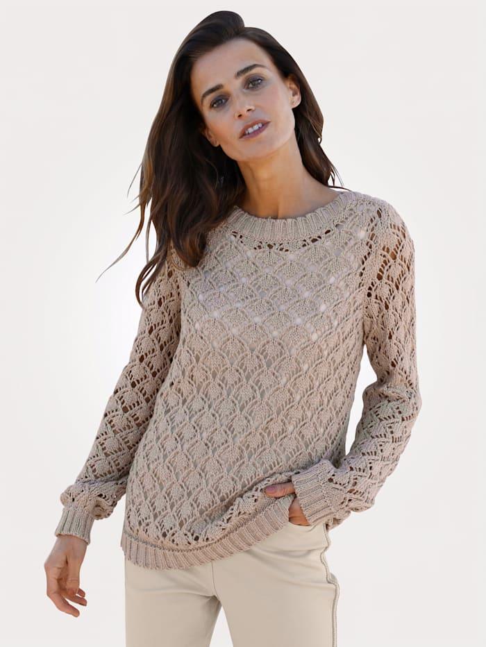 MONA Pullover mit Ajourstrick, Sand