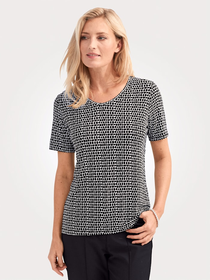MONA Shirt van zacht viscosemateriaal, Zwart/Ecru