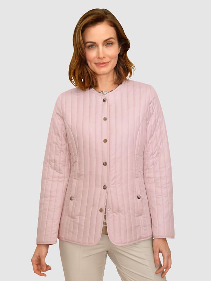 Paola Prešívaná bunda s patentnými gombíkmi, Ružová