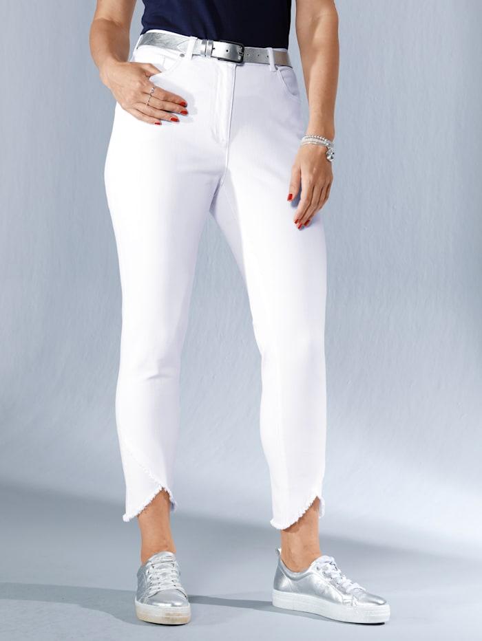 MIAMODA Jeans met asymmetrische rand met franjes, Wit