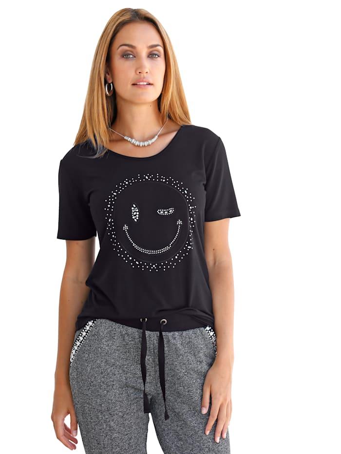 Shirt mit zwinkerndem Smiley, Schwarz