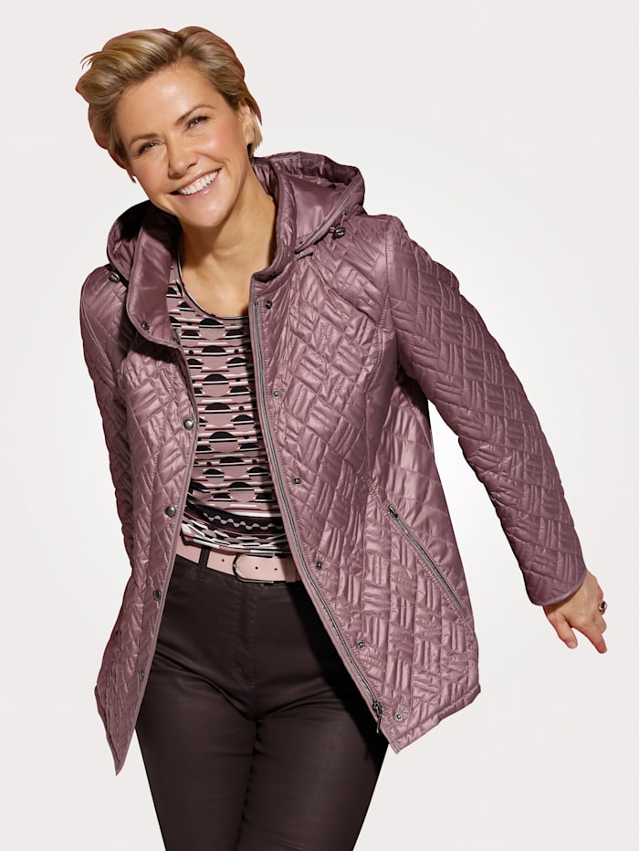 MONA Quilted jacket with detachable hood, Rosé