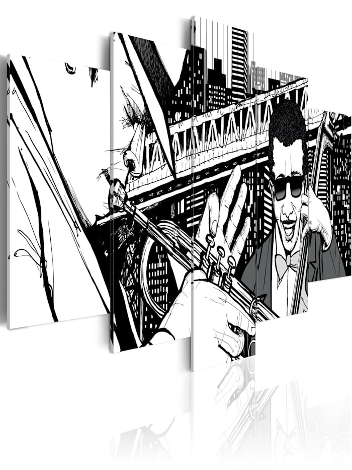 artgeist Wandbild Jazz-Konzert mit New York-Wolkenkratzer im Hintergrund - 5 Teile, schwarz-weiß
