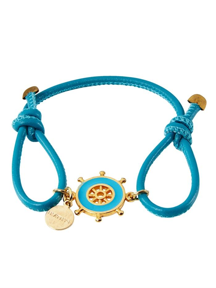 KATHY Armband Steuerrad-Anhänger, Durchmesser 1,5 cm, Blau