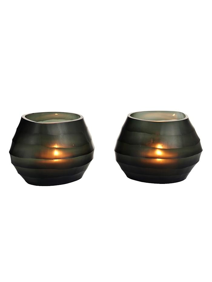 IMPRESSIONEN living Teelichthalter-Set, 2-tlg., dunkelblau/schwarz