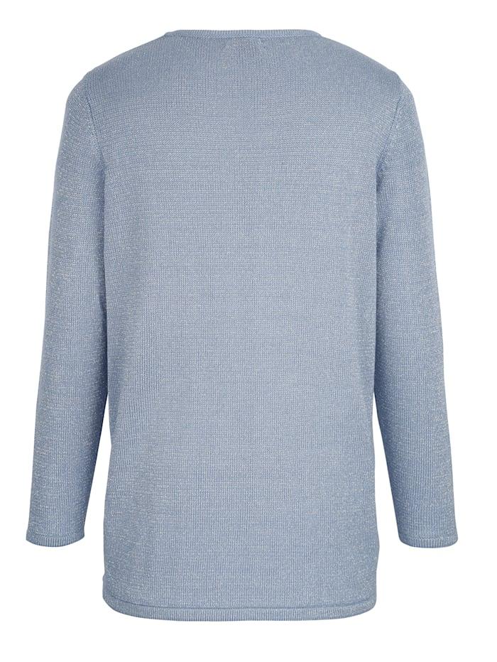 Pullover rundum mit silberfarbenem Glitzerfaden gearbeitet