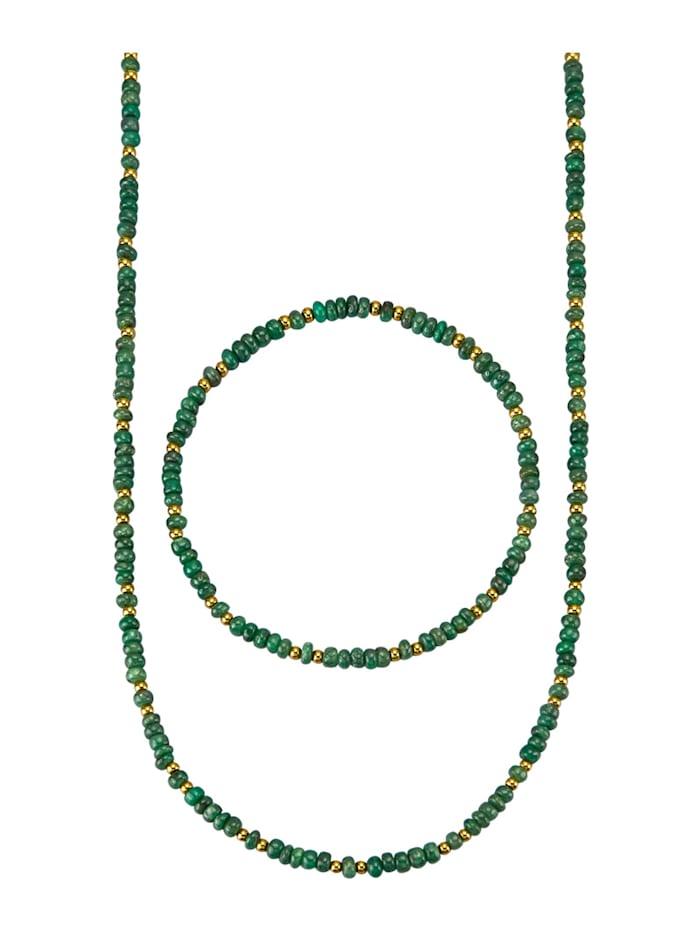 2-delige sieradenset met smaragden, Groen