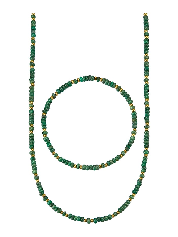2tlg. Schmuck-Set mit Smaragden, Grün