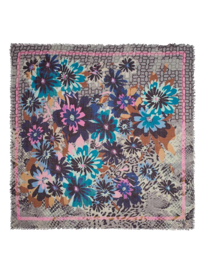 Logo-Tuch mit Blumen aus Wolle und Modal