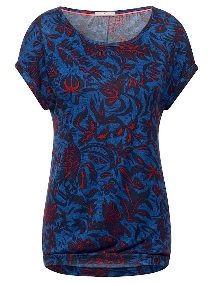 Cecil T-Shirt mit Blumen Print, lake blue