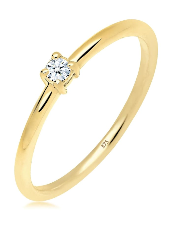 DIAMORE Ring Verlobungsring Diamant 0.06 Ct. 375 Gelbgold, Weiß