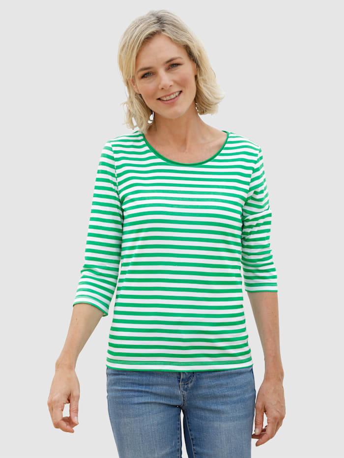 Dress In Shirt mit schönem Streifendruck, Limettengrün