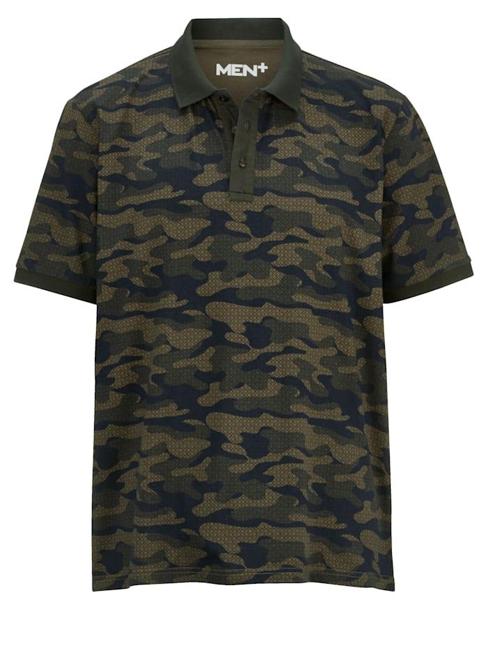 Men Plus Poloshirt in Oil Wash Optik, Marineblau/Dunkelblau