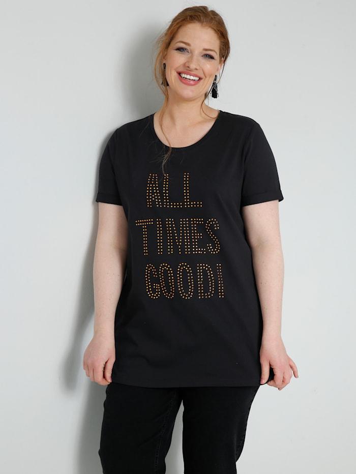 Sara Lindholm Shirt mit Dekosteinchen Schriftzug, Schwarz