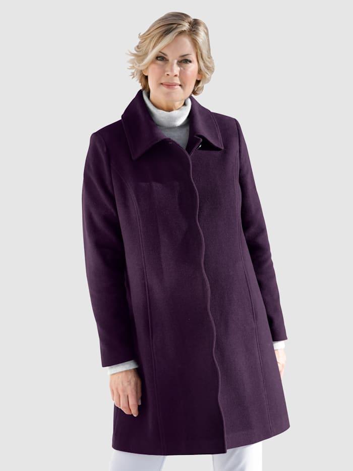 Wollen mantel met geschulpte rand