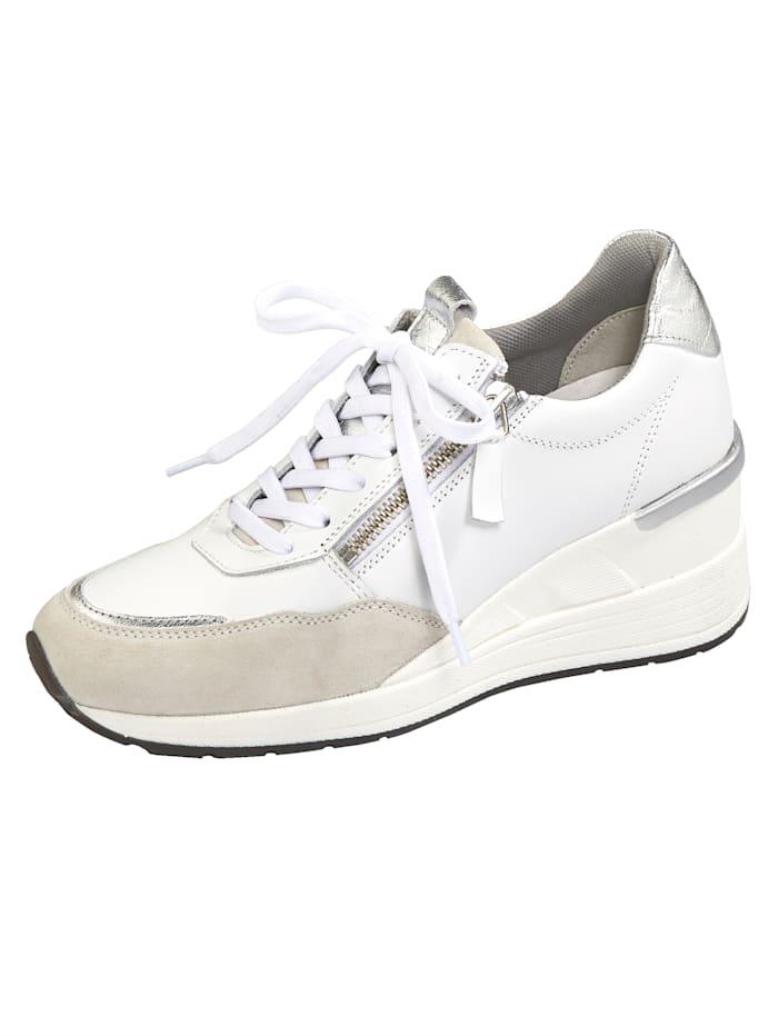 Naturläufer Schnürschuh mit extra hohem Keilabsatz, Weiß